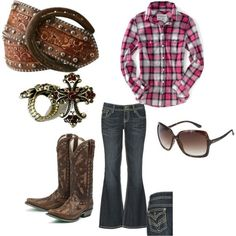 I'm all for a plaid shirt, cowgirl boots jeans and sunglasses. Not so much that belt and accessories