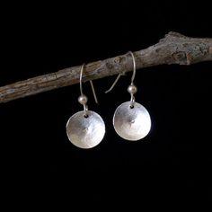 Fine Silver Mini Concave Disk Drop Earrings