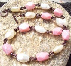 Raw Rose Rhodochrosite Garnet Ecru White Glass Pearl Gemstone Necklace Set   SisterJewelry - Jewelry on ArtFire