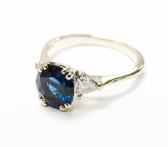 Just like blue velvet.  #vintage #sapphire #engagement | Vintage Style Rings