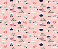 Light Pink Christmas Houses fabric by mintgreensewingmachine on Spoonflower - custom fabric