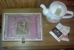 Top view of purple tea box.