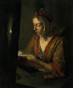 Joseph Wright of Derby, Anna Romana Wright reading by candlelight, c. 1795. Oil on canvas on canvas, 75.2 x 62.2 cm (image) 76.2 x 63.5 cm (canvas). National Gallery of Victoria, Melbourne