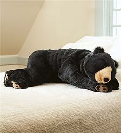 Super-Soft Bear Hug Body Pillow with Realistic Features in Black