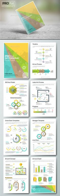 Pro Flat Infographic Brochure Template PSD, Vector EPS, AI Illustrator. Download here: http://graphicriver.net/item/pro-flat-infographic-brochure-set-5/16413881?ref=ksioks
