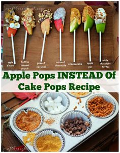 Need Great Snack Ideas for the Kids? Make your own Apple Pops Snack bar using a muffin tin, various toppings and sliced apple chunks- apple pie, coconut chocolate, cheesecake, and toffee caramel peanut ~Budget101