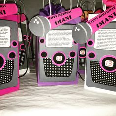 """Karaoke theme party favor bags for """"big kids"""" (filled) by DesiresPartyFavors on Etsy https://www.etsy.com/listing/272763126/karaoke-theme-party-favor-bags-for-big"""