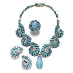 Turquoise and diamond necklace, Boucheron, a pair of ear clips, Van Cleef & Arpels, and a ring, circa 1955 The necklace of scroll design, set with turquoise marquise cabochons, brilliant- and single-cut diamonds, suspending a drop shaped turquoise capped with single-cut diamonds, length approximately 275mm, signed Boucheron, numbered, French assay and maker's marks; the pair of ear clips of similar design, signed Van Cleef & Arpels, numbered; the ring similary set