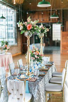 tall gold wedding floral centerpiece