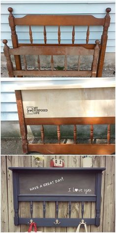 My Repurposed Life shows you how to transform a vintage headboard into a chalkboard coat rack shelf perfect for a busy family. Check out the Restore for your DIY materials! Old Furniture, Repurposed Furniture, Furniture Projects, Furniture Makeover, Home Projects, Painted Furniture, Garden Furniture, Furniture Showroom, Refurbished Furniture