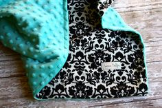 Tiffany Blue and Black Damask Baby Blanket by Saravadesigns, $35.00