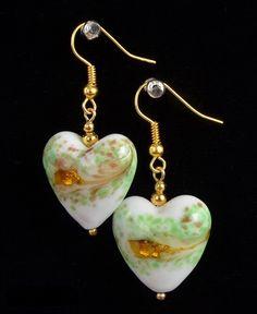Gorgeous Gold Foil White Green Heart Earrings. Lampwork Earrings. Dangle Earrings. Lampwork Jewelry. Gift for Her. Valentine's Gift