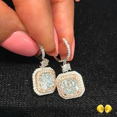 @novelcollection. Exceptional earrings - rare  fancy blue diamonds, with a pink diamond halo. All natural fancy color diamonds, only from #NovelCollection