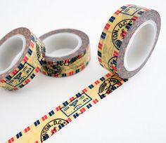 Cinta de Washi con patrón de sellos de correo aéreo, ideal para revistas de viajes, scrapbooking, envoltura de regalos, decoración y mucho más! Washi