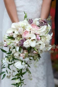 Cascading hand-tie bridal bouqet by Lisa Bodo for Rebecca Shepherd Floral Design 10/9/11