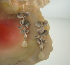 Simple Cascading Silver Orchids with Mother of Pearl