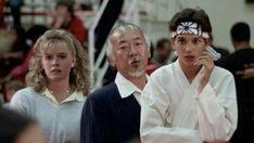 """The Karate Kid"" Elisabeth Shue, Ralph Macchio & Pat Morita The Karate Kid 1984, Karate Kid Movie, Karate Kid Cobra Kai, Ralph Macchio, 80s Movies, Good Movies, I Movie, Iconic Movies, Elisabeth Shue Karate Kid"