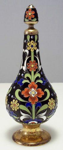 Russian 916 Silver Enamel Perfume Bottle 151 6 Grams | eBay