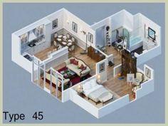 Denah Rumah Minimalis Type 45 Terbaru