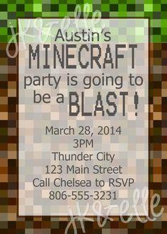 Minecraft Birthday Party Invitation.