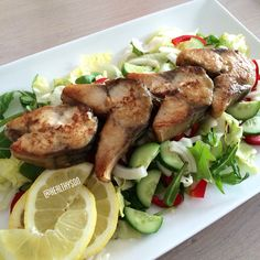 Fried mackerel on a delicious salad!