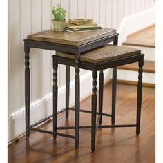 Found it at Wayfair - Metal and Wood Nesting Tables, Set of 2