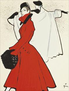 The Red Coat, circa 1950 by Rene Gruau.