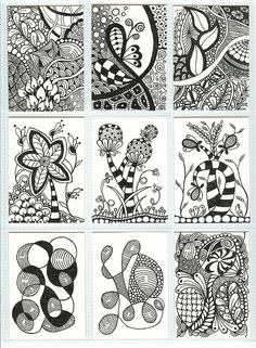 Zentangle ATCs by PRaile, via Flickr - Zentangle like - zentangle inspired - zentangle patterns - #zentangle