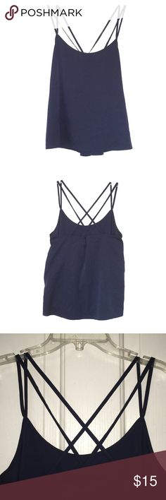 Abercrombie & Fitch Navy Strappy Tank - Medium Abercrombie & Fitch Navy Cross Back, Strappy Tank - Medium. Worn once. great condition, Offers thru Poshmark only!!! Abercrombie & Fitch Tops Tank Tops