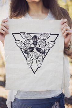Cicada Triad patch hand printed on 100 year old por fancyclancy