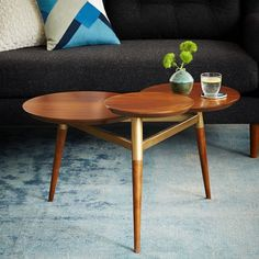 Clover Coffee Table - Walnut/Antique Brass