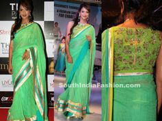 Lakshmi Manchu walked the ramp for Youth NGO Passionate Foundation Charity Show in green net lehenga saree, paired up with sleeveless embroidered blouse with zippered back.