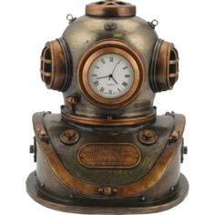 Clock Display, Clock Decor, Desk Clock, Steampunk Octopus, Steampunk Clock, Steampunk Watch, Novelty Clocks, Diving Helmet, Dark Knight Armory