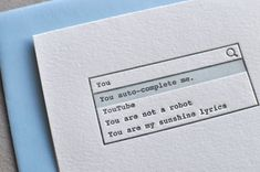 Letterpress You autocomplete me Valentine's Day Love by Paperwheel, $6.50