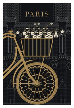 Paris, Bicycle, Notre Dame - 13x19 Poster Print, Original Illustration, Art Print, Black and Gold Paris, Drawing and Illustration. $24.00, via Etsy.