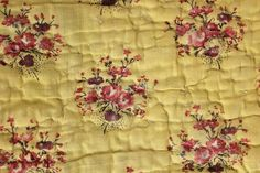 Antique French Provencal Quilt Fragment 18th 19th Century Yellow Ground   eBay