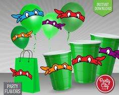 INSTANT DOWNLOAD - TMNT Eyes Stickers - Party Favor Label Tags - Printable Teenage Ninja Mutant Turtles Birthday Party Decoration