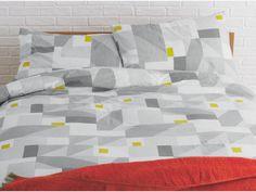 RUKIN Cotton Grey geometric patterned kingsize duvet cover set - HabitatUK