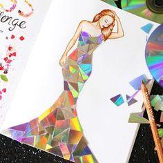 Color me creative by kristina webb Kristina Webb Art, Art Sketches, Art Drawings, Pencil Drawings, Fashion Illustration Dresses, Dress Illustration, Cd Art, Fashion Design Drawings, Creative Artwork