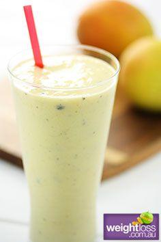 Healthy Drink Recipes: Mango Passionfruit Smoothie. #HealthyRecipes #DietRecipes #WeightlossRecipes weightloss.com.au