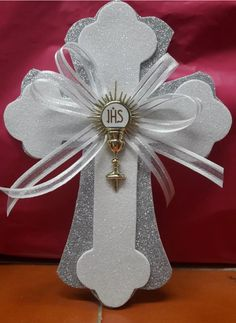 Best 12 Details about Cross centerpieces/ Pink and Gold Cross/ Baptism centerpieces stick/cross Christening Centerpieces, Communion Centerpieces, First Communion Decorations, First Communion Favors, Première Communion, Baptism Decorations, First Holy Communion, Paper Doily Crafts, Baptism Party