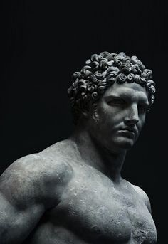 Marble statue of a youthful Hercules,A. - This sculpture has been excavated in the remains of public baths originally constructed under the em [. Ancient Greek Sculpture, Greek Statues, Ancient Art, Roman Sculpture, Art Sculpture, Metal Sculptures, Ceramic Sculptures, Tattoo Roman, Sculpture Romaine