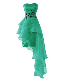 Dresstells Short Prom Dress Asymmetric Organza Homecoming Dress with Beads Green Size 12 *** Read more  at the image link.