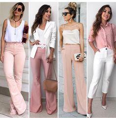 Qual seu look preferido? Classy Outfits, Chic Outfits, Fashion Outfits, Womens Fashion, Mode Pro, Work Fashion, Fashion Looks, Pantalon Large, Professional Outfits