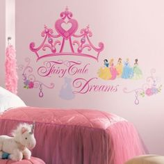 These Disney Princess Crown Wall Decals feature various Disney princesses, a large pink crown, and a 'Fairy Tale Dreams' headline. Add a royal touch to your little one's room by decorating with these Disney princess decals! Princess Wall Art, Princess Room, Princess Party, Princess Nursery, Crown Cutout, New Disney Princesses, Princess Disney, Removable Wall Stickers, Little Girl Rooms