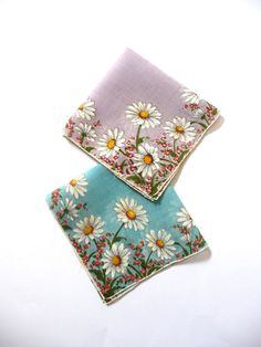 Vintage New Daisy Printed Handrolled Fine Cotton Handkerchiefs