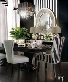 Dining Room by irafra Black And White Dining Room, White Rooms, Elegant Dining Room, Dining Room Design, Dining Rooms, Room Interior, Interior Design, Interior Decorating, Dining Room Inspiration