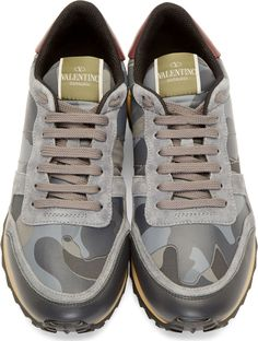 Valentino Grey Suede & Leather Camo Sneakers