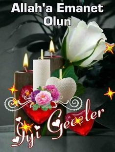 En güzel iyi geceler mesajları, Resimli iyi akşamlar mesajı, dosta iyi geceler mesajı... Allah, Candle Holders, Candles, Table Decorations, Flowers, Facebook, Chicken, Leaves, Florals
