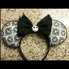 Nightmare Before Christmas - Jack Skellington and Zero Inspired Minnie Mouse Disney Ears Disney Ears Headband, Disney Headbands, Disney Mickey Ears, Disney Bows, Disney Hair, Ear Headbands, Mickey Mouse, Diy Headband, Disney Fun